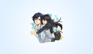 Boys closed simple background girls black hugging HD wallpaper