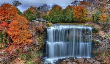 Colorful waterfall HD wallpaper