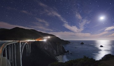 Light mountains moon bridges california HD wallpaper