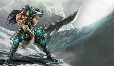 Mountains league of legends warriors swords tryndamere HD wallpaper