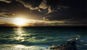 Sunset nature coast waves sea HD wallpaper