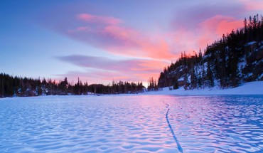 Sunset landscapes nature frozen lake natural HD wallpaper