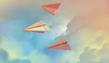 Artwork Papierflieger  HD wallpaper