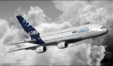 Airbus a380 aircraft aviation clouds HD wallpaper