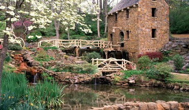 World architecture rocks bridges ponds arkansas mills HD wallpaper