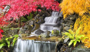 Backyard waterfall HD wallpaper
