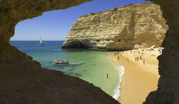 Beach portugal algarve HD wallpaper