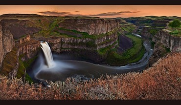 Sunset landscapes nature canyon falls waterfalls palouse HD wallpaper