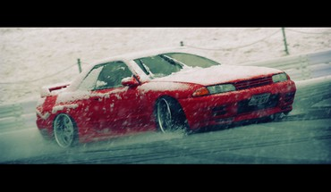 Nissan skyline r32 blizzard drifting cars snow HD wallpaper