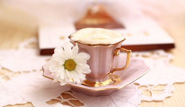 Flowers coffee food brown beans drinking and milk HD wallpaper