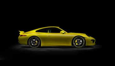 Porsche 911 TechArt geltona automobilius  HD wallpaper