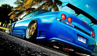 Market nissan skyline r33 blue cars tuning HD wallpaper