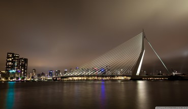 Erasmus bridge rotterdam netherlands HD wallpaper