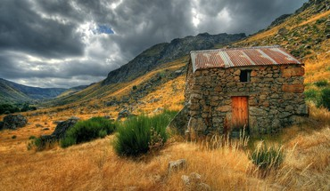 Clouds landscapes mountains nature old house HD wallpaper