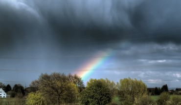 Rainbow through rain clouds HD wallpaper