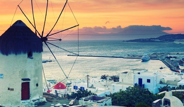 Sunset cityscapes greece windmills greek islands mykonos HD wallpaper