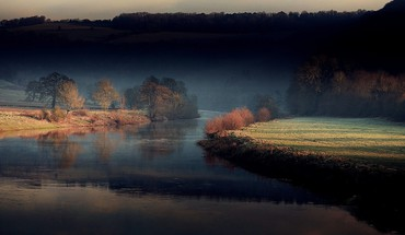 Grass hills morning rivers ego early half-light HD wallpaper