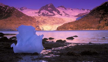 Alaska bay icebergs sunrise HD wallpaper