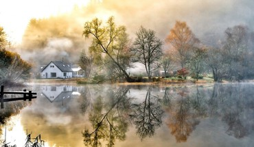 Country home house landscapes mountains HD wallpaper