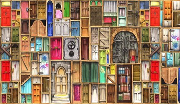 Artwork doors HD wallpaper