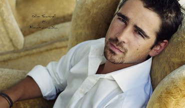 Men armchairs actors colin farrell goatee HD wallpaper