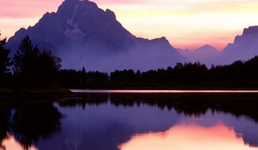 Wyoming Seen Gebirge Reflexionen Sonnenuntergang  HD wallpaper