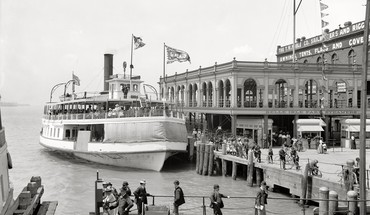 Crowd detroit monochrome historic ferry old photography HD wallpaper