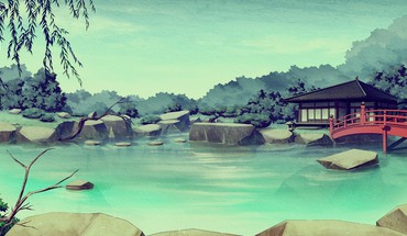 Ponds asians artwork HD wallpaper