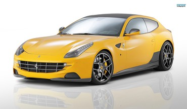 Yellow cars ferrari ff novitec rosso white background HD wallpaper