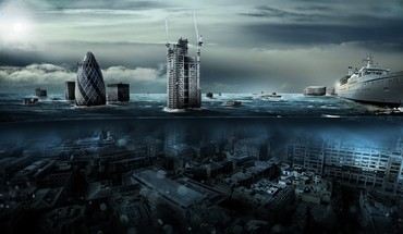 Water ocean clouds cityscapes london underwater photomanipulation split-view HD wallpaper