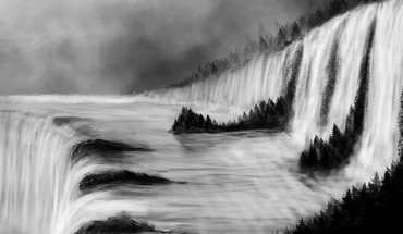 Landscapes nature trees forests grayscale digital art waterfalls HD wallpaper