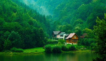 Lake houses in the forest HD wallpaper