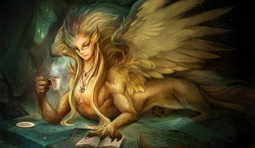 Wings fantasy art sphinx HD wallpaper