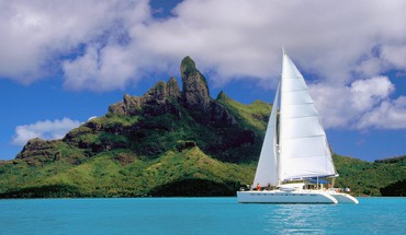 Bora french polynesia catamaran lagoon HD wallpaper