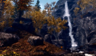Листья водопады The Elder Scrolls v: Skyrim  HD wallpaper