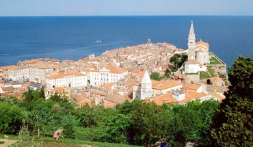 Slovenia beaches cityscapes piran HD wallpaper