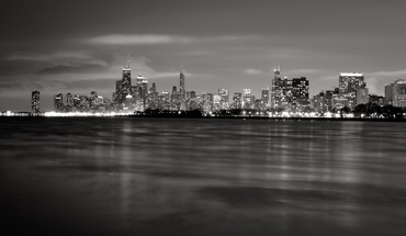 Chicago cityscapes grayscale skylines HD wallpaper