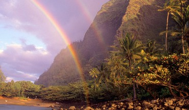 Hawaii beaches double rainbow kauai HD wallpaper