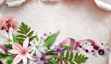 Flowers beads and ribbon HD wallpaper
