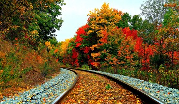 Railroad in autumn HD wallpaper