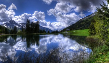 Mountains clouds landscapes nature trees lakes skyscapes reflections HD wallpaper