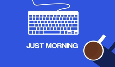 Minimalistic coffee keyboards morning blue background HD wallpaper