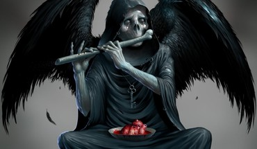 Wings death skeletons sitting hearts keys playing music HD wallpaper