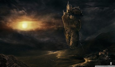 Castle in the sky fantasy art HD wallpaper