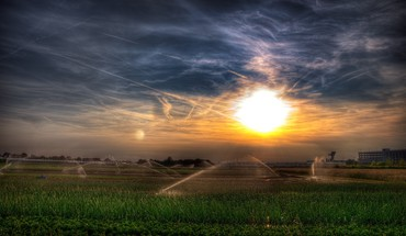 Fields sunset HD wallpaper