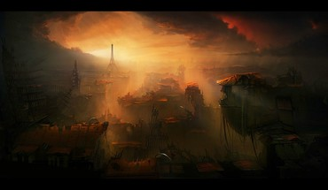 Artwork post apocalyptic cities skies cloud future HD wallpaper