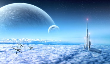 Futuristic skies HD wallpaper