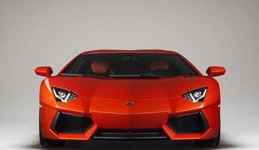 Red lamborghini aventador front view HD wallpaper