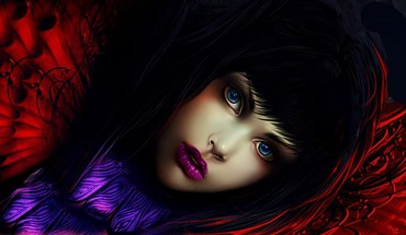 Blue eyes brunettes digital art faces fantasy HD wallpaper