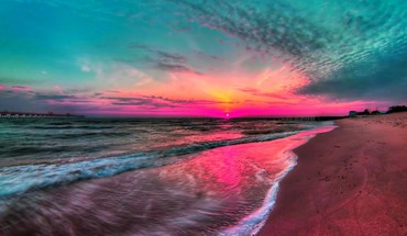 Sunset beach shore seascapes HD wallpaper